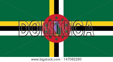Illustration of the flag of Dominica with the country written on the flag