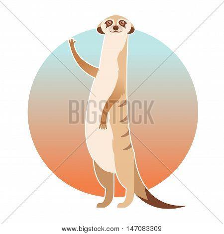 Vector image of the Greeting cartoon meerkat