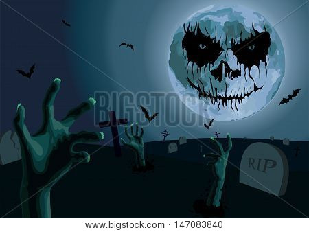 Halloween night: full moon with scary emotion cemetery with graves zombie hands bat flittermouse. Vector vertical closeup side view sign signboard hand-drawn illustration image to celebration holiday