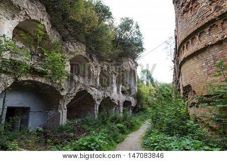 Brick destroyed wall . Remains of building. Ruins of old fort Tarakanovskiy. Dubno. Ukraine.