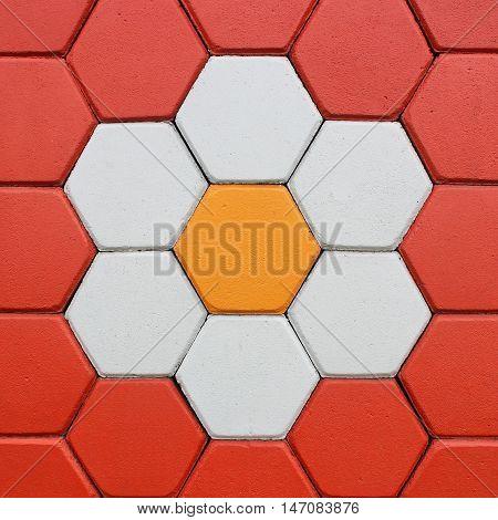 The Hexagonal brick flooring on background texture