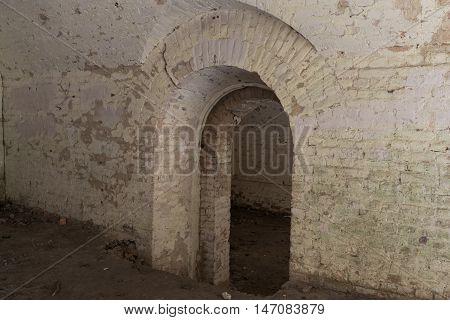 Ruins inside the fort Tarakanovskiy. Arches. Catacombs. Dubno. Ukraine