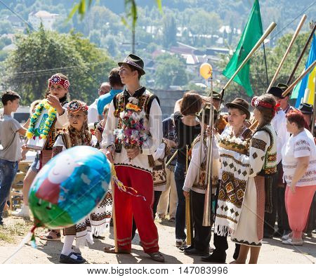 4 September 2016. RakhivTranscarpathian region Ukraine. Celebration - Festival Hutsul brynza . Colorful procession . Preservation of traditions and crafts cheese manufacturing national food and drinks. Children continue national traditions