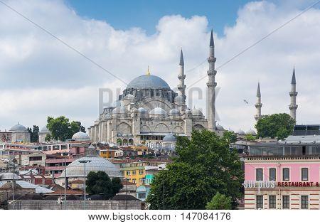 ISTANBUL TURKEY - JUNE 25 2015: View on the Suleymaniye Mosque in Eminonu Istanbul Turkey