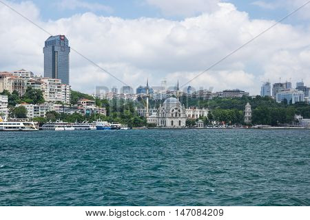 ISTANBUL TURKEY - JUNE 25 2015: Panoramic view of Golden Horn and european part of Istanbul Turkey