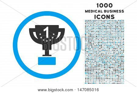 First Prize Cup rounded vector bicolor icon with 1000 medical business icons. Set style is flat pictograms, blue and gray colors, white background.