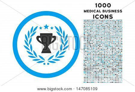 Glory rounded vector bicolor icon with 1000 medical business icons. Set style is flat pictograms, blue and gray colors, white background.