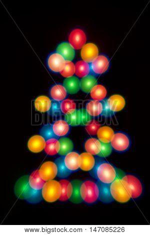 Decorative multicolour balls Christmas tree. Decorative multicolour Christmas tree. Blue, orange, green, white and red bubbles