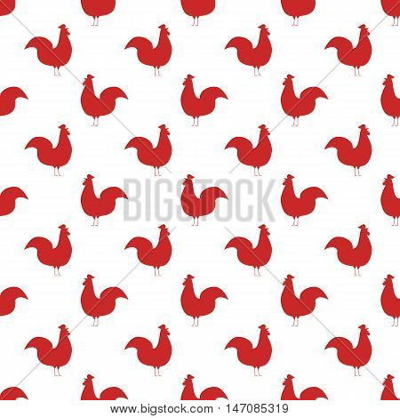 Seamless pattern background with roosters. Symbol of 2017 new year. Black and white rooster texture. Rooster silhouette icon. Seamless pattern with hand drawn cartoon roosters. Bird tiling background.