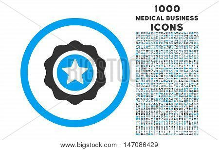 Reward Seal rounded vector bicolor icon with 1000 medical business icons. Set style is flat pictograms, blue and gray colors, white background.