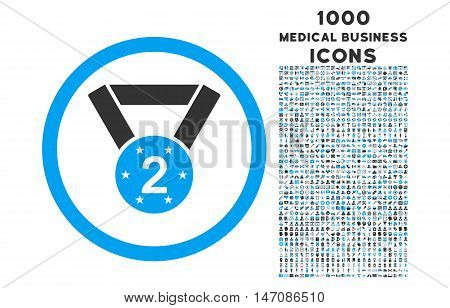 Second Medal rounded vector bicolor icon with 1000 medical business icons. Set style is flat pictograms, blue and gray colors, white background.