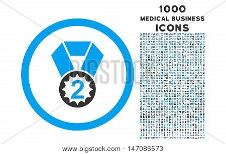 Second Place rounded vector bicolor icon with 1000 medical business icons. Set style is flat pictograms, blue and gray colors, white background.