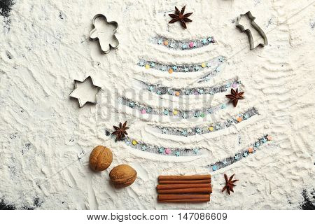 Christmas Fir-tree From Flour On A Wooden Table