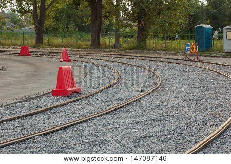 Repair of tram tracks in the summer season