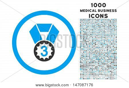 Third Place rounded vector bicolor icon with 1000 medical business icons. Set style is flat pictograms, blue and gray colors, white background.