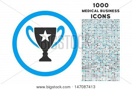 Trophy Cup rounded vector bicolor icon with 1000 medical business icons. Set style is flat pictograms, blue and gray colors, white background.