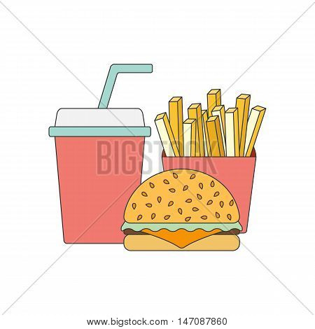 Vector american food concept. Fast food cafe restaurant. Flat objects: burger french fries soda. Junk unhealthy eating. Obesity concept flat infographics. American cuisine flat line vector template