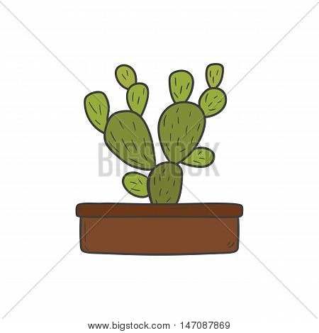 Vector illustration with cartoon hand drawn isolated cactus in flowerpot. House plant object. Vector cartoon interior concept. Hand drawn background. Cartoon cactus vector. Succulent plant
