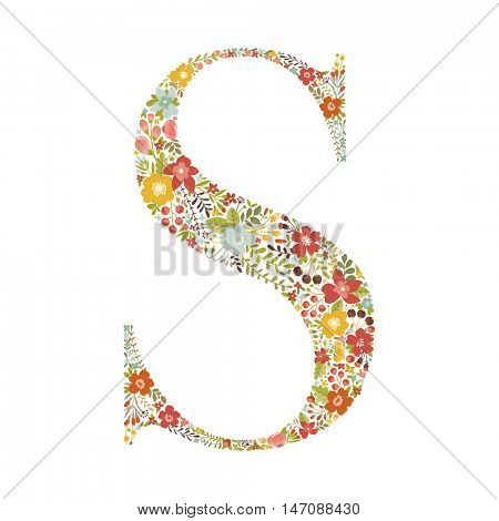 S letter with decorative floral ornament