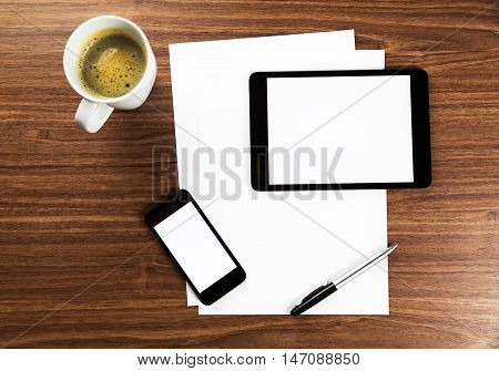 Business Desk with Blank Digital Tablet, Blank Smartphone, Coffee and White Papers