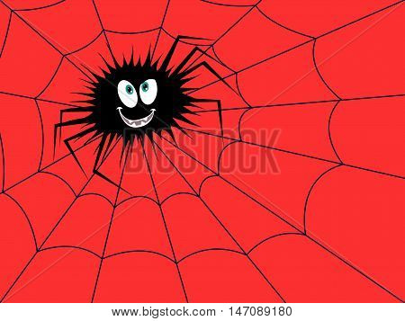 Halloween Funny Spider On The Red Cobweb