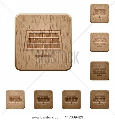 Set of carved wooden solar panel buttons in 8 variations.