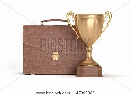 brown briefcase and gold cup winner on white isolated background, 3D illustration