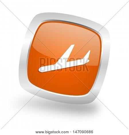 arrivals square glossy orange chrome silver metallic web icon