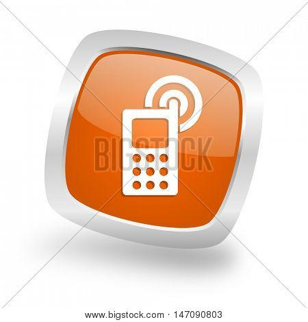 phone square glossy orange chrome silver metallic web icon