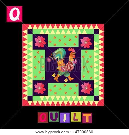 Year Of The Rooster. Cute Cartoon English Alphabet With Colorful  Image And Word. Kids Vector Abc. L