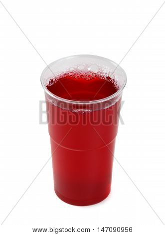 Drinks In Plastic Cup Isolated On White Background