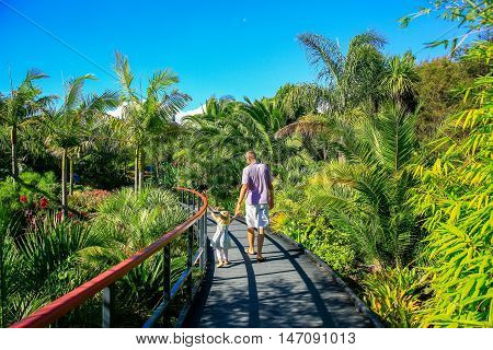 Hamilton, Nz - February 25, 2015: Tropical Garden In Hamilton Gardens.