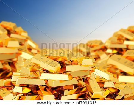 3D rendering of heap of gold bars
