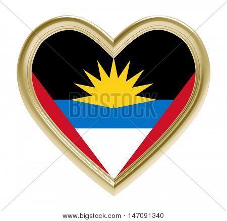 Antigua flag in golden heart isolated on white background. 3D illustration.