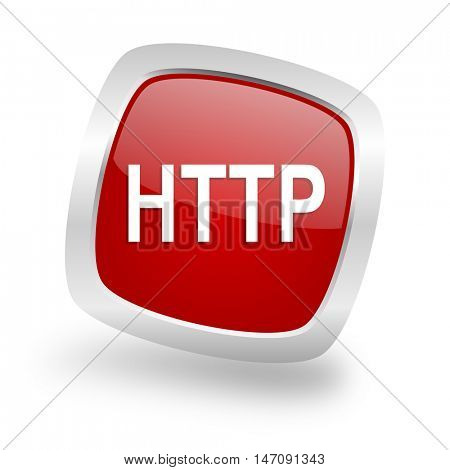 http square glossy red chrome silver metallic web icon