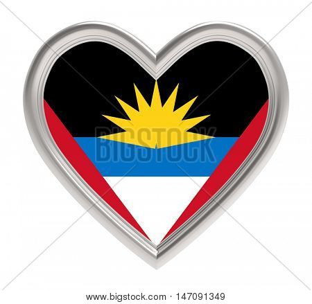 Antigua flag in silver heart isolated on white background. 3D illustration.