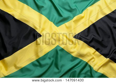 Textile flag of Jamaica for a background