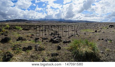 Panoramic view lava fields near Hekla volcano, Southern Iceland
