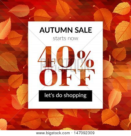 Autumn sale background with abstract background and alder leaves. Vector illustration. EPS 10