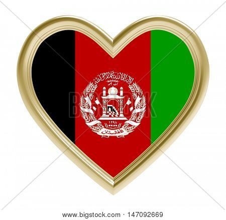 Afghan flag in golden heart isolated on white background. 3D illustration.