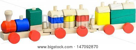 Toy train made out of wooden blocks
