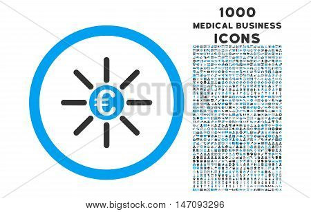 Euro Distribution rounded vector bicolor icon with 1000 medical business icons. Set style is flat pictograms, blue and gray colors, white background.