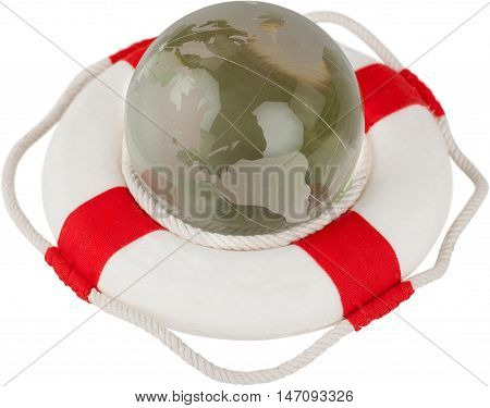 Life ring with a globe in it - environmental protection concept