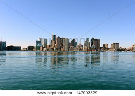 Boston Skyline and Custom House from East Boston, Massachusetts, USA