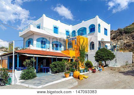 PALEOCHORA, CRETE, GREECE - JUNE 2016: Traditional white blue Greek village on Crete island
