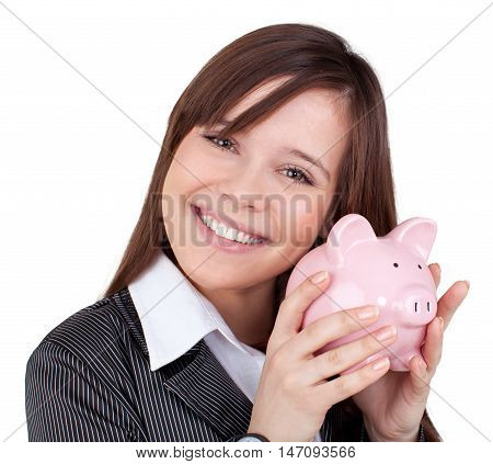 Businesswoman with Piggy Bank - Isolated on White