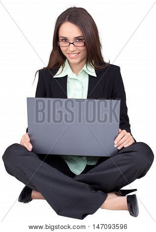 Businesswoman Sitting on Ground Cross- Legged with Laptop - Isolated