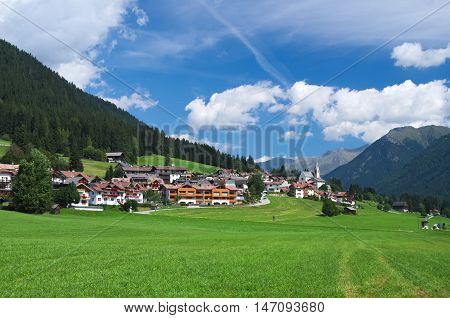 Summer view of the alpine village of St. Magdalena in the Val Casies (Gsies tal) valley
