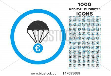 Euro Parachute rounded vector bicolor icon with 1000 medical business icons. Set style is flat pictograms, blue and gray colors, white background.