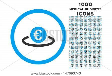 Euro Placement rounded vector bicolor icon with 1000 medical business icons. Set style is flat pictograms, blue and gray colors, white background.